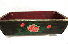 Antique Chinese Hand Painted Floral Wooden Open Planter Window Box