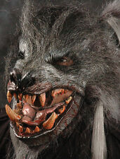 Giant Gray Killer Werewolf Adult Halloween Mask with Moving Mouth