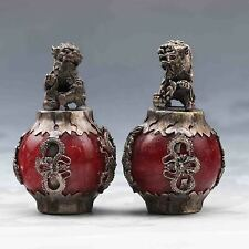 COLLECTIBLE CHINESE SILVER COPPER INLAID JADE HANDWORK PAIR LION STATUE