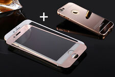 New Mirror Cover Case & Color Tempered Screen Protector +Metal Bumper For iphone