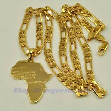 "REAL AFRICA MAP 18K YELLOW GOLD GP 1.73"" PENDANT 23.6""6mm NECKLACE SOLID GEP V11"