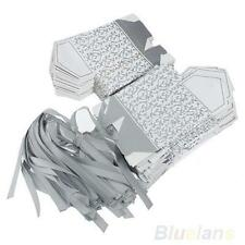 New Silver Ribbon Romantic Wedding Favor Birthday Party Candy Paper Box 50 Pcs