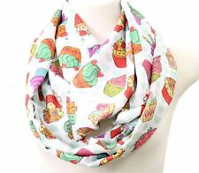 Sweet Candy Cupcake Scarf NEW Muffin infinity scarves Women print circle loop