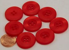 """8 Matte But Pearlized Bright Red Plastic Buttons 7/8"""" 23MM # 6134"""