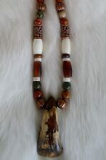 Native American Buffalo Tooth Bone Necklace Jasper Beads Regalia Cherokee PowWow