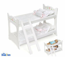 Doll Bunk Bed 18 American Girl Dolls Furniture White Mattress Ladder Bedding
