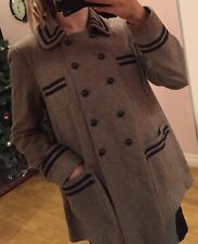 Topshop Grey Wool Military Style Long Coat