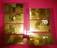 24 Kt Gold 2002 Euro - Lot Of 7 European Union € Notes In Rigid Pvc Holder.