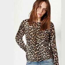 NWT Equipment Shirley Leopard-Print Long-Sleeved Silk/Cashmere Sweater / Top -XS