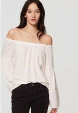 NWT Ann Taylor LOFT Off the shoulder Bell sleeve top Whisper WHite XL Xlarge