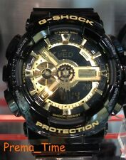 CASIO G-SHOCK GA110GB-1A SOLID GLOSS BLACK & GOLD TONE, ANTE-MAGNETIC, CRHONO.