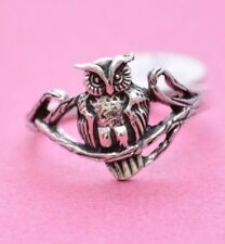 CUTE OWL ON A TREE BRANCH  All Genuine Sterling Silver .925 Stamped Size 5