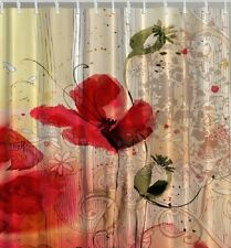 Red Poppy Painting Flower Fabric SHOWER CURTAIN Floral Red Beige Bloom Bathroom