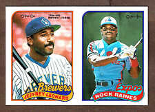 1989 OPC Expos' Tim Raines & Brewers' Jeff Leonard, Production Proof Uncut Pair