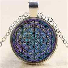 Flower Of Life Cabochon Glass Tibet Silver Chain Pendant Necklace