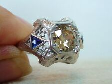 Antique Art Deco Natural Yellow Brown Diamond Ring 18K White Gold Filigree