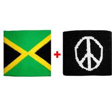 Coppia polsini Jamaica + pace in spugna gruppi rock e bandiere