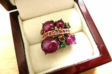 RED RUBY GREEN GARNET PINK & ORANGE SAPPHIRE STERLING SILVER RING SZ N US SZ 7