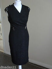 Nine West womens dress, size 8, black shiny with lace details, brand new