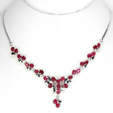 Sterling Silver 925 Genuine Natural Pink Ruby & Silver Swirl Necklace 17.75 Inch