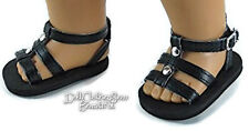 "Black Gladiator Summer Sandals Shoes made for 18"" American Girl Doll Clothes"