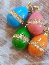 4 Goldtone and Bright colored Enamel Easter egg pendants