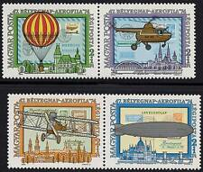 HUNGARY 1974 TRANSPORT MNH ZEPPELIN, HELICOPTER, PLANES, STAMP on STAMPS  HU-AL1