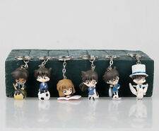 6pcs New Japanese Anime Detective Conan Figure Keychain Keyring Gift Cute