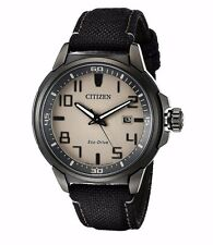 Citizen Eco-Drive Men's AW1465-06H Black Case Black Nylon Strap Watch