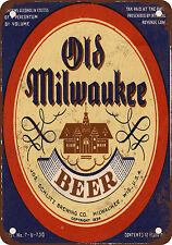 """1934 Old Milwaukee Beer 10"""" x 7"""" Reproduction Metal Sign"""