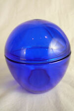 Vintage COBALT BLUE Glass Covered CANDY DISH Lidded Trinket BOX Heavy & Thick