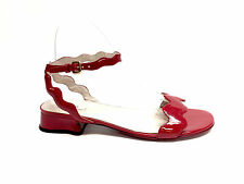 PRADA Red Ric-Rac Patent Leather Flat Ankle Strap Sandals Sz37.5