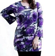 NEW QUALITY MARINA KANEVA PURPLE ROSE FLORAL TUNIC ~ TOP  SIZE 16