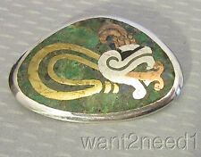 modernist vtg signed NESTOR TAXCO MIXED METAL BROOCH PENDANT Mexico 925 INLAY