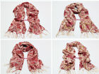 100% Wool Pashmina Long SCARF SHAWL Leopard Chain Multi Gradual More Colors WL30