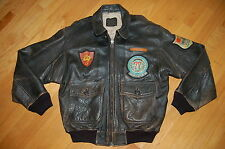 AVIREX USN Type G-1 TOP GUN USS ORISKANY Blood Chit Leather Flight Jacket Size L