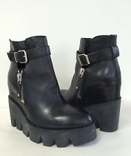 New Ash Womens Ricky Platform Wedge Ankle Boots Booties Leather BLK 38/7-7.5