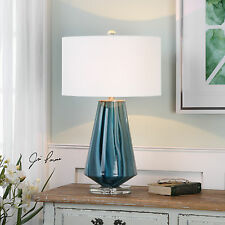 """NEW 29"""" TEAL GRAY WITH BLUE GLASS TABLE LAMP BRUSHED NICKEL CRYSTAL BASE LIGHT"""