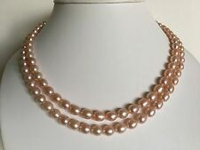 """Gorgeous Double Strand 18"""" Cultured Freshwater 6-7 mm Pink Pearl Necklace"""