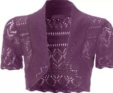 WOMENS LADIES CROCHET SHRUG KNITTED BOLERO SHORT SLEEVE CARDIGAN TOP SIZE 8-14