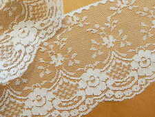 "WHITE LACE TRiM, Flat Lace, 4"" wide, 5yds. ~ Wedding Crafts Sewing Invitations"