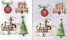 SLEIGH, BAUBLE, TREE & HOUSE - CHRISTMAS 3D  DIMENSIONAL CARD TOPPERS.