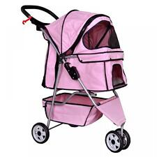 New Pink Pet Stroller Cat Dog Cage 3 Wheels Stroller Travel Folding Carrier 13T