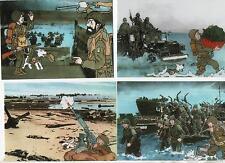 Carte Postale. Lot de 4 cartes collection Tintin était là. Souvenir Normand 1994