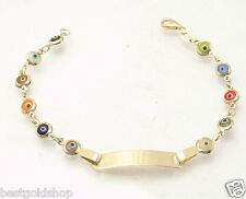 "6.25"" Kids Childrens Evil Eye ENGRAVABLE ID BRACELET REAL 14K Yellow GOLD"