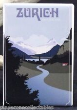 "Zurich Switzerland Vintage Travel Poster - 2"" X 3"" Fridge / Locker Magnet."