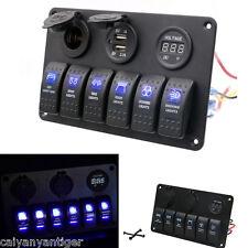 6 Gang Aluminium LED Rocker Switch Panel Circuit Breaker Marine Boat Waterproof
