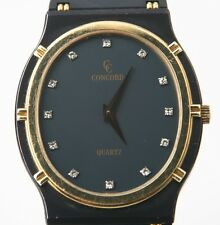 UNISEX CONCORD LA COSTA 18K GOLD & GUN METAL QUARTZ WATCH DIAMOND MARKERS