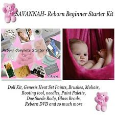 SAVANNAH Complete  REBORN Starter Beginner Kit, Genesis paints, Mohair, Doll KIT