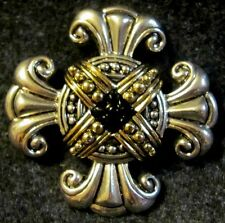 Lovely Premier Designs Maltese Cross Brooch Pin Silver Tone Gold Black